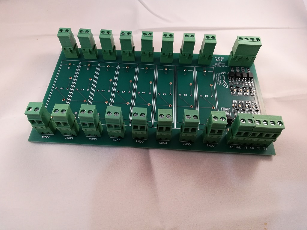 High Voltage 8 Relay Board; No Relays; 7,500 V; 3-5 Volt Sourcing/Sinking