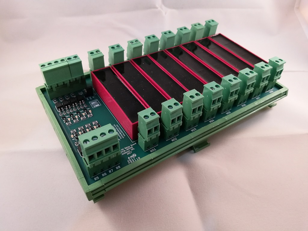 High Voltage Relay Board; 8 Relay Form A; 7,500 V; 3-5 Volt Sourcing/Sinking; DIN Rail Mount